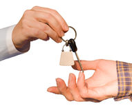 предпосылка вручая изолированные ключей над белизной Стоковое Фото