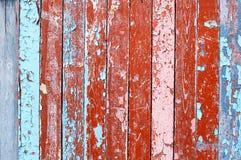Предпосылка выдержанная текстурой деревянная с краской шелушения Стоковая Фотография