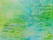 Предпосылка в методе scrapbooking в голубом зеленом цвете тонизирует Стоковая Фотография RF