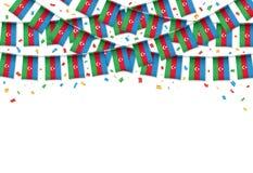 Предпосылка гирлянды флага Азербайджана белая с confetti, овсянкой вида на азербайджанский День независимости иллюстрация вектора