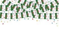 Предпосылка гирлянды флага Алжира белая с confetti иллюстрация вектора