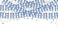 Предпосылка гирлянды флага Аргентины белая с confetti, овсянкой вида на аргентинский День независимости иллюстрация штока