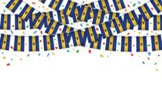 Предпосылка гирлянды флага Барбадос белая с confetti иллюстрация штока