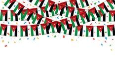 Предпосылка гирлянды флага Джордана белая с confetti, овсянкой вида на йорданський День независимости иллюстрация штока