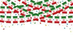 Предпосылка гирлянды флага Ирана белая с confetti, овсянкой вида на иранский День независимости бесплатная иллюстрация