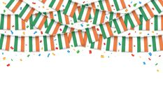 Предпосылка гирлянды флага Ирландии белая с confetti, овсянкой вида на ирландский День независимости бесплатная иллюстрация