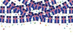 Предпосылка гирлянды флага Исландии белая с confetti, овсянкой вида на День независимости бесплатная иллюстрация