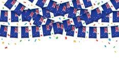 Предпосылка гирлянды флага Новой Зеландии белая с confetti, овсянкой вида на День независимости бесплатная иллюстрация