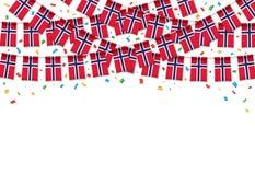 Предпосылка гирлянды флага Норвегии белая с confetti, овсянкой вида на День независимости Норвегии иллюстрация вектора