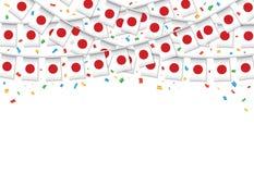 Предпосылка гирлянды флага Японии белая с confetti, овсянкой вида для японской независимости иллюстрация штока