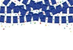 Предпосылка гирлянды флагов Европейского союза белая с confetti, овсянкой вида для торжества иллюстрация вектора