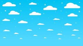 Предпосылка голубого неба с белыми облаками с упрощенной формой Стоковое Фото