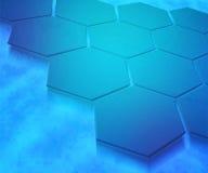 Предпосылка голубых шестиугольников абстрактная Стоковое Фото