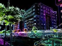 Предпосылка города светлая неоновая абстрактная, неоновое влияние Стоковое фото RF