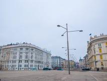 Предпосылка городского пейзажа в вене, Австрии ландшафта часы зимы сезона Стоковые Фотографии RF