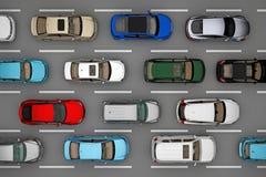 Предпосылка движения автомобилей на дороге от взгляд сверху иллюстрация вектора