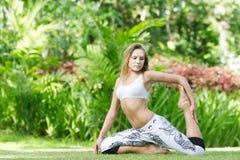 предпосылка делая естественную йогу женщины Стоковая Фотография
