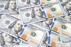 Предпосылка денег с 100 американскими долларовыми банкнотами Стоковые Фото
