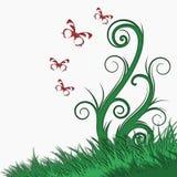 Предпосылка дерева и бабочки Стоковая Фотография RF