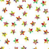 Предпосылка детей праздничная с confetti и звездами Картина вектора carnaval безшовная красочная С днем рождения, рождество или н Стоковые Изображения