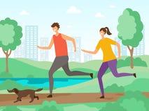 Предпосылка деятельностям при спорта Люди фитнеса jogging или бежать outdoors характеры вектора плоские иллюстрация штока