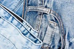 Предпосылка Джина Текстура демикотона джинсовой ткани голубая Стоковые Изображения