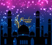 Предпосылка дизайна Рамазана Kareem Иллюстрация для поздравительной открытки, плаката и знамени Стоковая Фотография