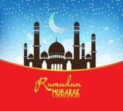 Предпосылка дизайна Рамазана Mubarak Иллюстрация для поздравительной открытки, плаката и знамени Стоковое Фото