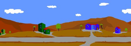 Предпосылка для анимации, гор и домов стоковая фотография rf