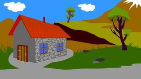 Предпосылка для анимации, небольшой дом стоковое фото rf