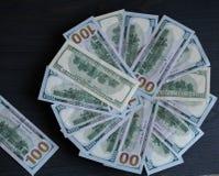 Предпосылка для надписи от примечаний 100 долларов Стоковое Изображение RF