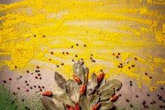 Предпосылка для паковать с едой Специи и травы для заголовков вебсайта Приправа разбросанная на таблицу Космос для текста стоковая фотография rf