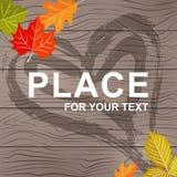 Предпосылка для текста на деревянной текстуре с листьями иллюстрация штока