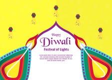 Предпосылка для Diwali, фестиваль огней приглашения индусского V стоковые фото
