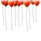 Предпосылка дня Валентайн с воздушными шарами сердца Стоковые Изображения