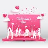 Предпосылка дня Валентайн с романтичными парами в любов бесплатная иллюстрация