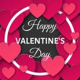 Предпосылка дня валентинок с отрезанными бумажными сердцами и круглым fram Стоковые Фото