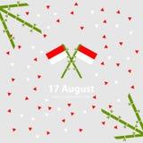 Предпосылка Дня независимости 17-ое августа Индонезии Иллюстрация вектора флагов Стоковые Изображения