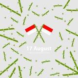 Предпосылка Дня независимости 17-ое августа Индонезии Иллюстрация вектора флагов Стоковое фото RF