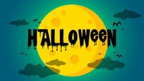 Предпосылка дня ` s хеллоуина - хеллоуин и летучие мыши противостоят луну стоковые фото
