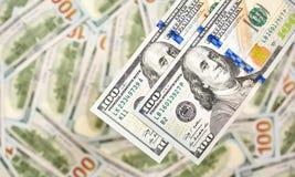Предпосылка 100 долларовых банкнот Американец денег 100 bi доллара Стоковая Фотография