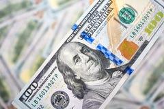 Предпосылка 100 долларовых банкнот Американец денег 100 bi доллара Стоковое Фото