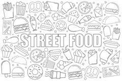 Предпосылка еды улицы от линии значка линейная картина вектора бесплатная иллюстрация