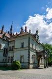 Предпосылка замка Shenborn в украинских прикарпатских горах Стоковая Фотография