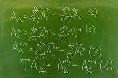 Предпосылка - зеленая доска с рукописными формулами стоковое изображение