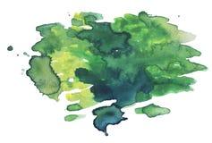 Предпосылка зеленого цвета акварели абстрактная Зеленая помарка акварели иллюстрация вектора