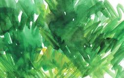 Предпосылка зеленого цвета акварели абстрактная Зеленая помарка акварели стоковое фото