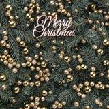 Предпосылка зимы ветвей ели Украшенный с золотыми безделушками и надписью веселого рождества небо klaus santa заморозка рождества стоковое изображение rf