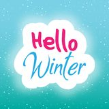 Предпосылка зимы говорит здравствуйте! изображение вектора Стоковые Изображения RF