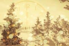 Предпосылка зимы снега и снега покрыла деревья стоковые фото